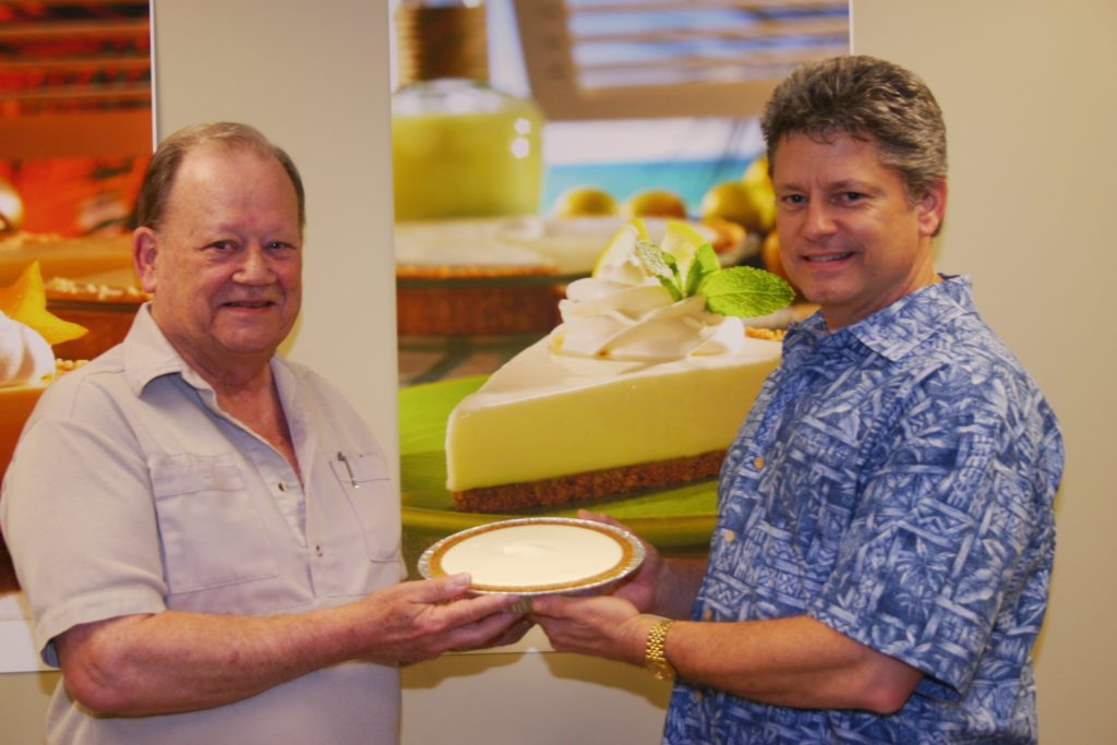 Five millionth pie presented to Kenny's father, Ransom Burts, on his 75th birthday.